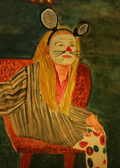 Clown Mask Ears Halloween Tric Or Treat Orange Stripes Whiskers Potrait Girl Young Greeting Card featuring the painting Sierra Waiting For Trick Or Treats by Shellie Gustafson
