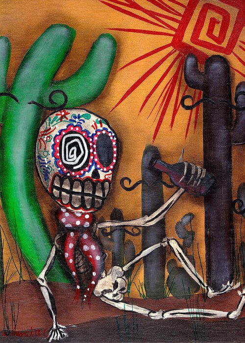Day Of The Dead Greeting Card featuring the painting Siesta by Abril Andrade Griffith