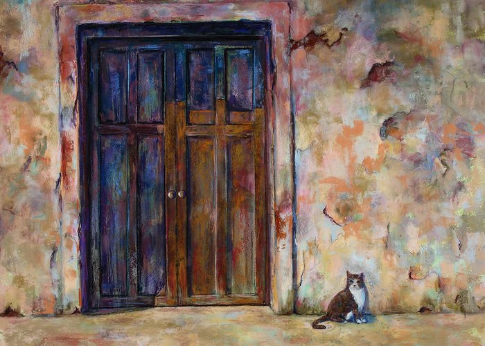 Doorway Greeting Card featuring the painting Siesta by Billie Colson
