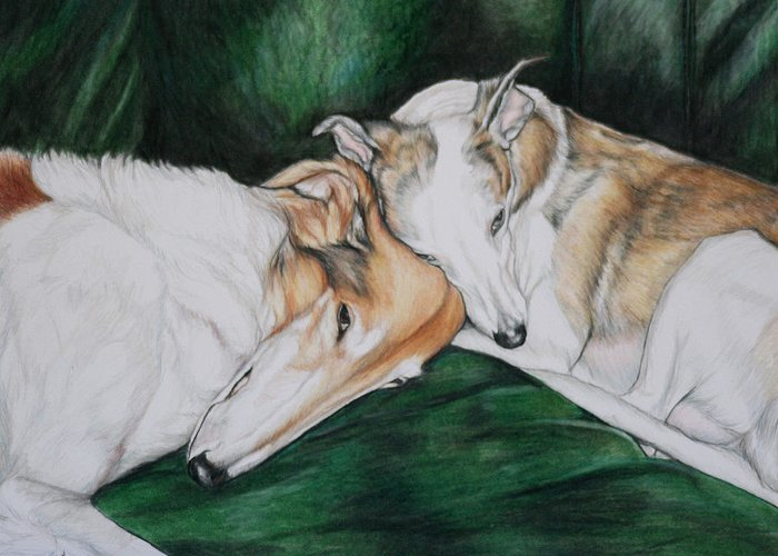 Borzoi Greeting Card featuring the painting Sighthound Comfort by Charlotte Yealey
