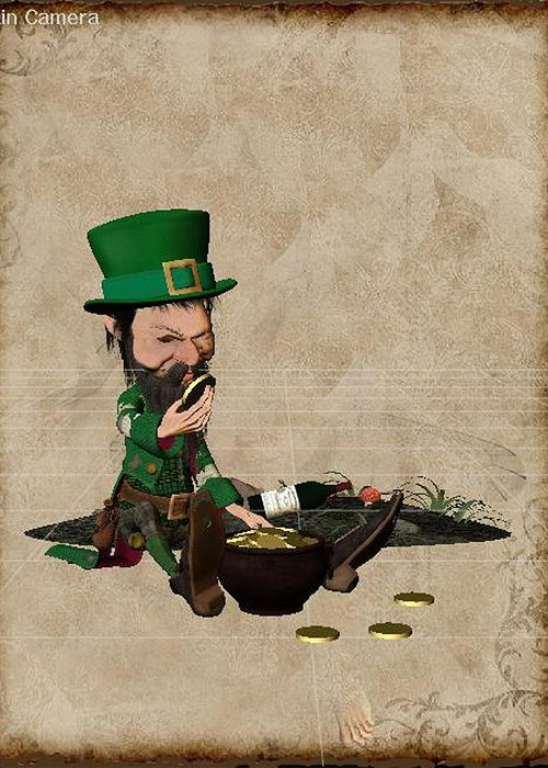 Leprechaun Painting By John Junek Greeting Card featuring the digital art Sigilchir by John Junek