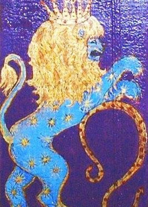 Original Art Greeting Card featuring the greeting card Sign Of Zodiac - Leo by Rae Chichilnitsky