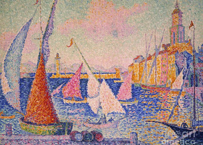 1899 Greeting Card featuring the photograph Signac: St. Tropez Harbor by Granger