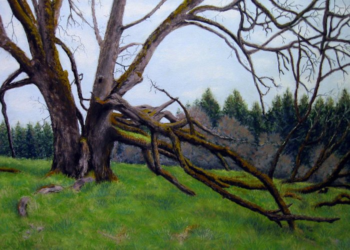 Landscape Greeting Card featuring the painting Signature Oak by Carl Capps