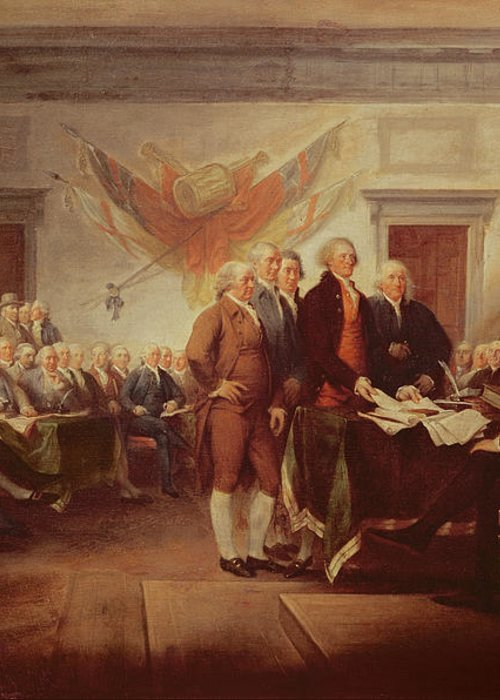 Signing Greeting Card featuring the painting Signing The Declaration Of Independence by John Trumbull