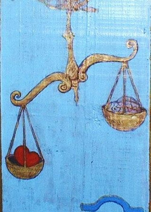 Original Art Greeting Card featuring the greeting card Signs Of Zodiac - Libra by Rae Chichilnitsky