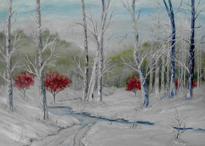Snow; Winter; Birch Trees Greeting Card featuring the painting Silence by Ben Kiger