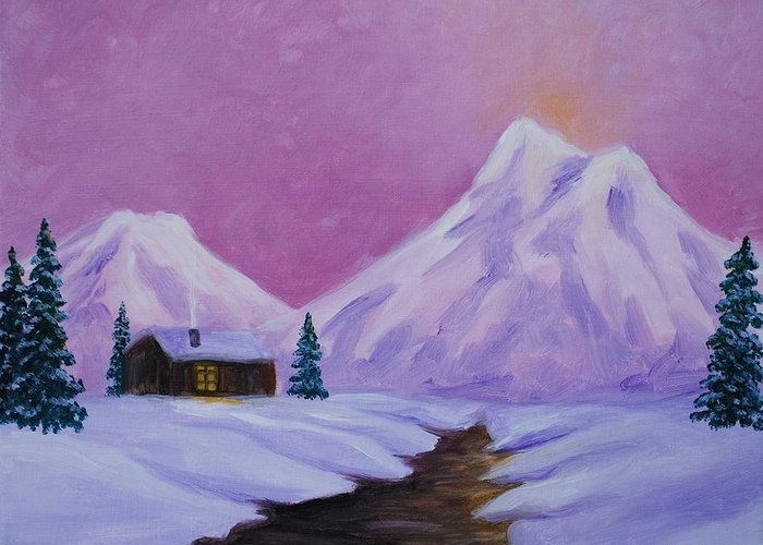 Snow Greeting Card featuring the painting Silence of Snow by Emily Page