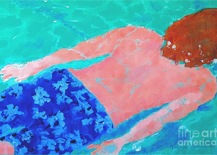 Swimming Greeting Card featuring the painting Silent Motion by Art Mantia