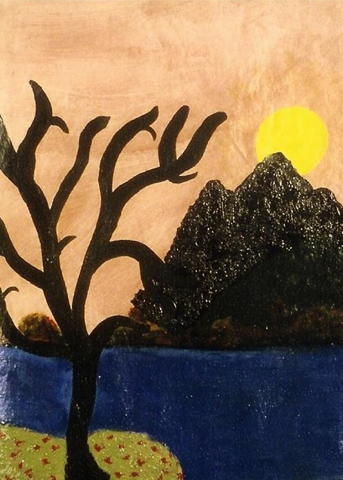 Landscape Greeting Card featuring the painting Silent by Ruth El