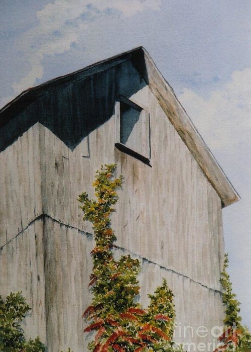 Barn Greeting Card featuring the painting Silent Sentinel by Jackie Mueller-Jones