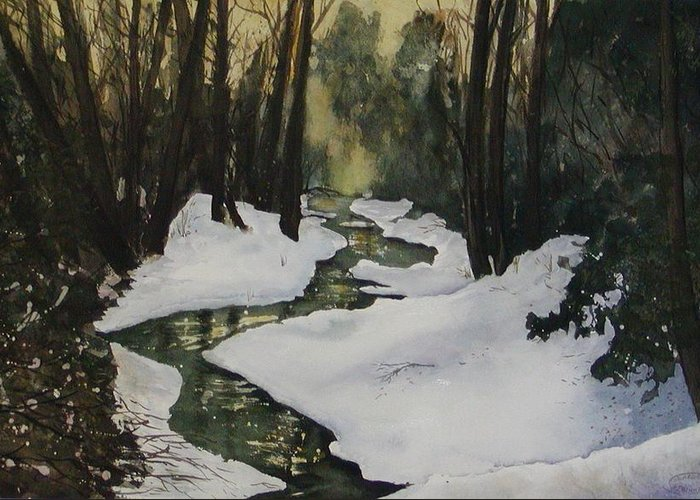 Watercolour Greeting Card featuring the painting Silent Snow by Sharon Steinhaus