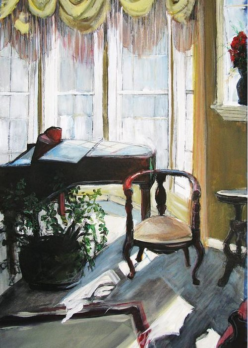 Piano. Parlor Greeting Card featuring the painting Silent Sunlight by Michelle Winnie