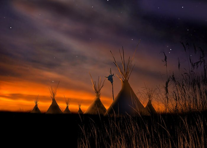 Native American Greeting Card featuring the painting Silent Teepees by Paul Sachtleben