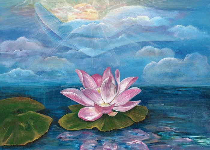 Lotus Greeting Card featuring the painting Silent Wisdom by Sundara Fawn