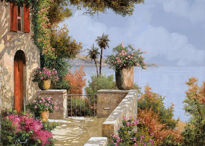 Seascape Greeting Card featuring the painting Silenzio by Guido Borelli