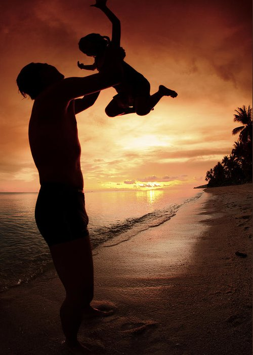 Active Greeting Card featuring the photograph Silhouette Family Of Child Hold On Father Hand by Anek Suwannaphoom