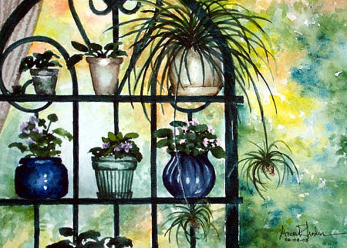 Garden Greeting Card featuring the painting Silhouette Garden by Anne Rhodes