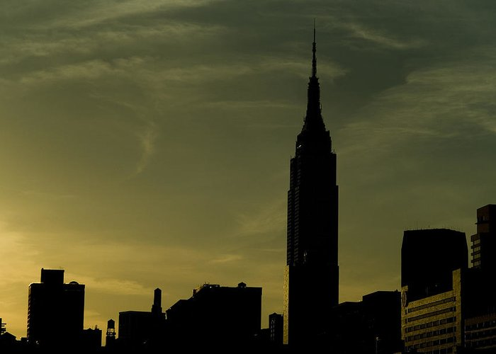 New York City Greeting Card featuring the photograph Silhouette Of Empire State Building by Todd Gipstein