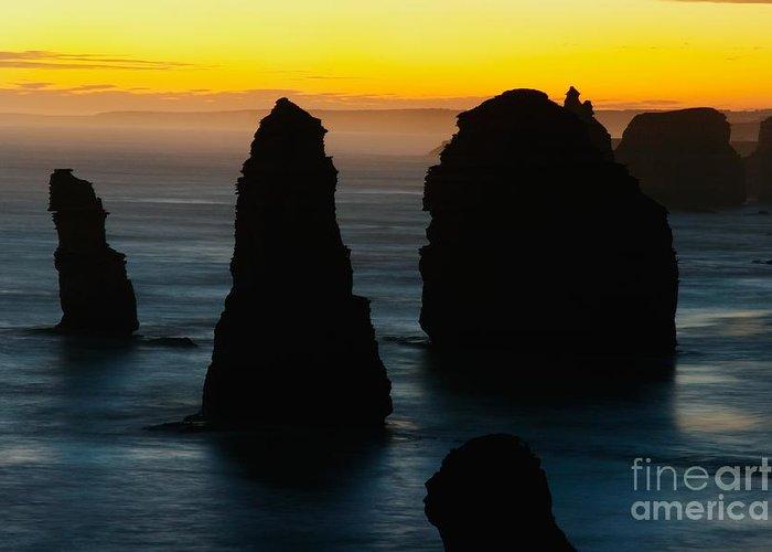 Welve Apostles Greeting Card featuring the photograph Silhouette Of The Twelve Apostles At Sunset by Hideaki Sakurai