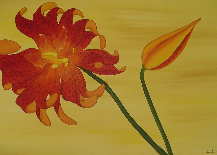 Marinella Owens Greeting Card featuring the painting Silicum Langfoliom by Marinella Owens