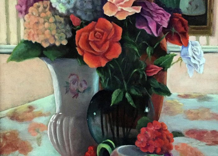 Still Life Greeting Card featuring the painting Silk Flowers by Marlene Book