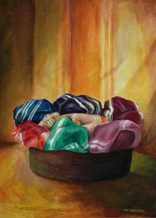 Silk Greeting Card featuring the painting Silk by Jun Jamosmos