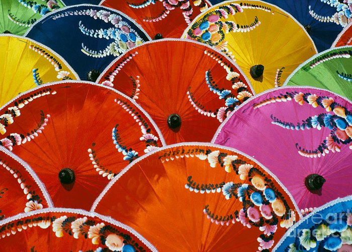 Art Greeting Card featuring the photograph Silk Umbrella Factory by Gloria & Richard Maschmeyer - Printscapes