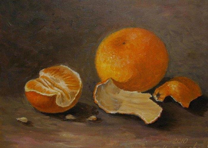 Still Life Greeting Card featuring the painting Sill Life With Mandarins by Eleonora Mingazova