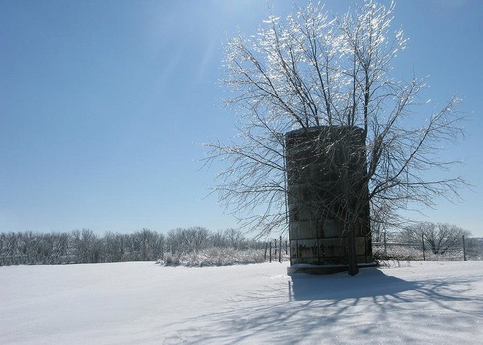 Sun Greeting Card featuring the photograph Silo In The Snow by Martie DAndrea