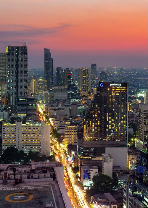 City Greeting Card featuring the photograph Silom by Marcus Burtenshaw