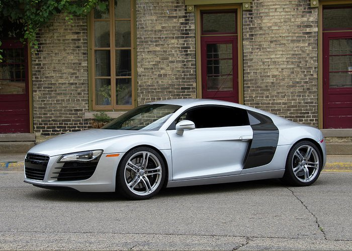 Silver Audi R8 Greeting Card