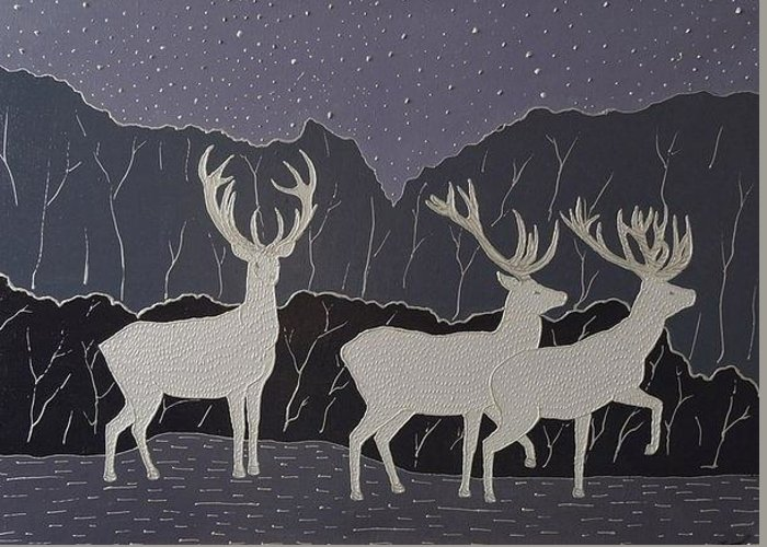 Silver Greeting Card featuring the painting Silver Deers by Polina Kamenska