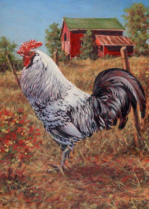 Rooster Greeting Card featuring the painting Silver Laced Rock Rooster by Richard De Wolfe