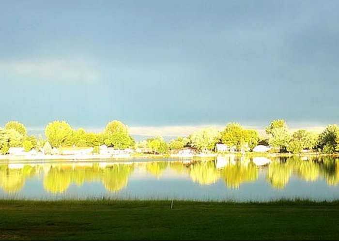 Silver Lake Water Reflection Summer Green Blue Sky Loveland Colorado Greeting Card featuring the photograph Silver Lake Reflections 2 by Suzi Holland