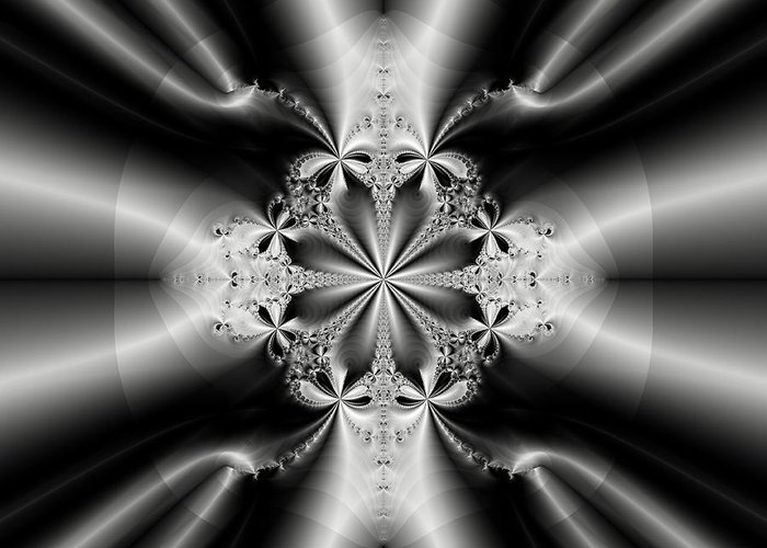 Fractal Greeting Card featuring the digital art Silver Rays 2 by Devalyn Marshall