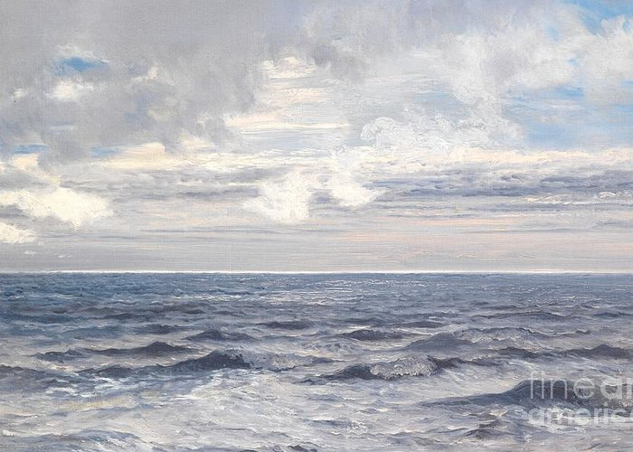 Seascape Greeting Card featuring the painting Silver Sea by Henry Moore
