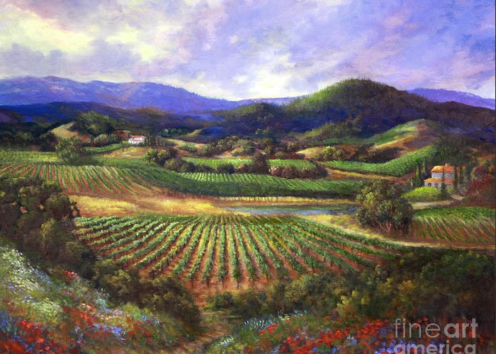 Landscape Greeting Card featuring the painting Silverado Valley Blooms by Gail Salitui