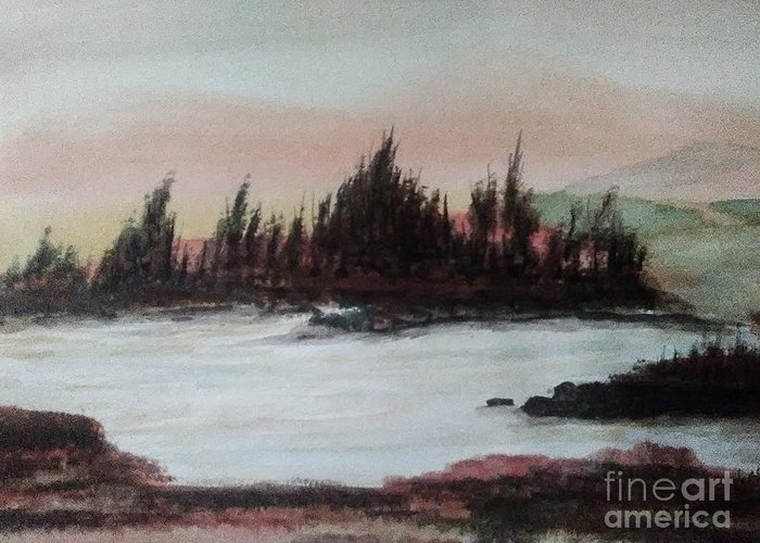 Landscape Greeting Card featuring the painting Silverlake by Loretta Kessler