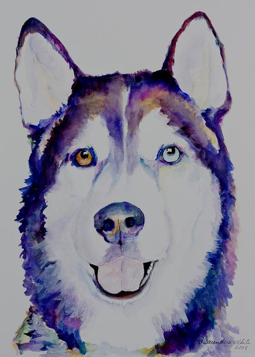 Siberian Husky Greeting Card featuring the painting Simba by Pat Saunders-White