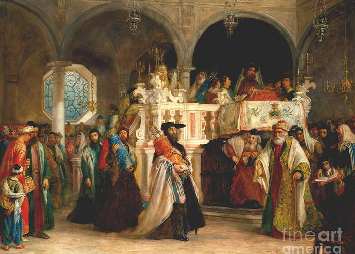 Simchat torah livorno 1850 greeting card for sale by solomon hebrew greeting card featuring the painting simchat torah livorno 1850 by solomon alexander hart m4hsunfo