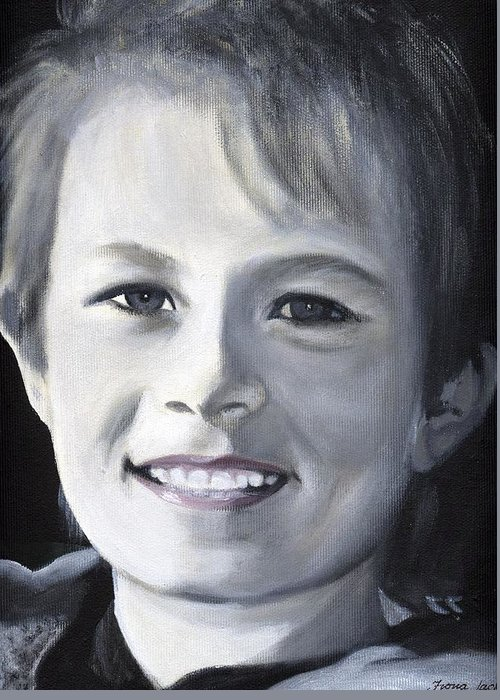 Portrait Greeting Card featuring the painting Simon by Fiona Jack