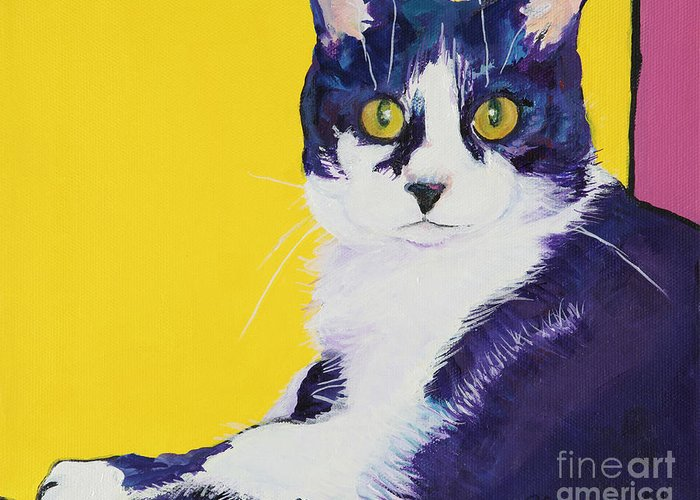Tuxedo Cat Greeting Card featuring the painting Simon by Pat Saunders-White