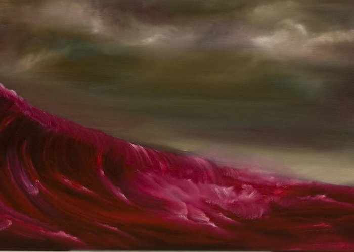 Red Greeting Card featuring the painting Simple Red by David Nadalin