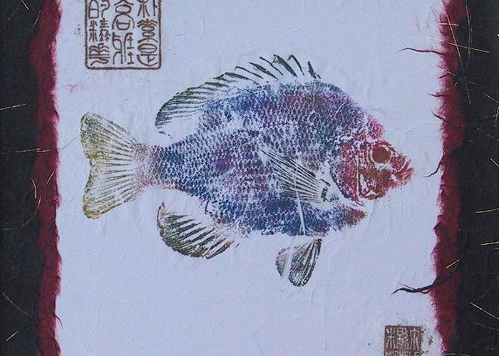 Gyotaku Greeting Card featuring the mixed media Simpliciity Is The Heart Of Elegance by Michele Caporaso