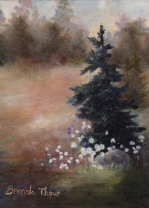 Pine Greeting Card featuring the painting Simplicity by Brenda Thour