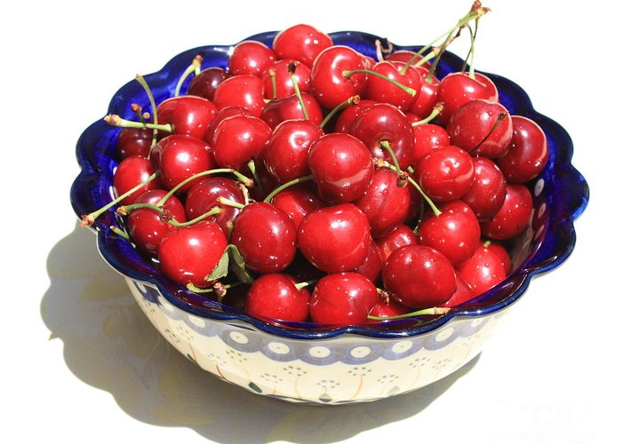 Cherries Greeting Card featuring the photograph Simply A Bowl Of Cherries by Carol Groenen
