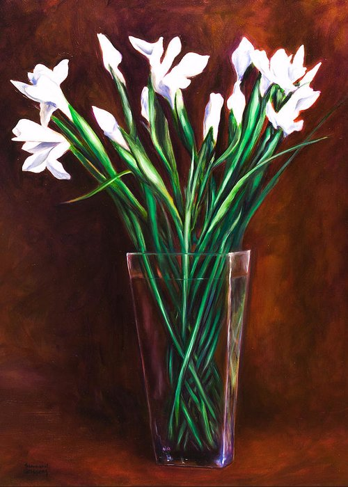 Iris Greeting Card featuring the painting Simply Iris by Shannon Grissom