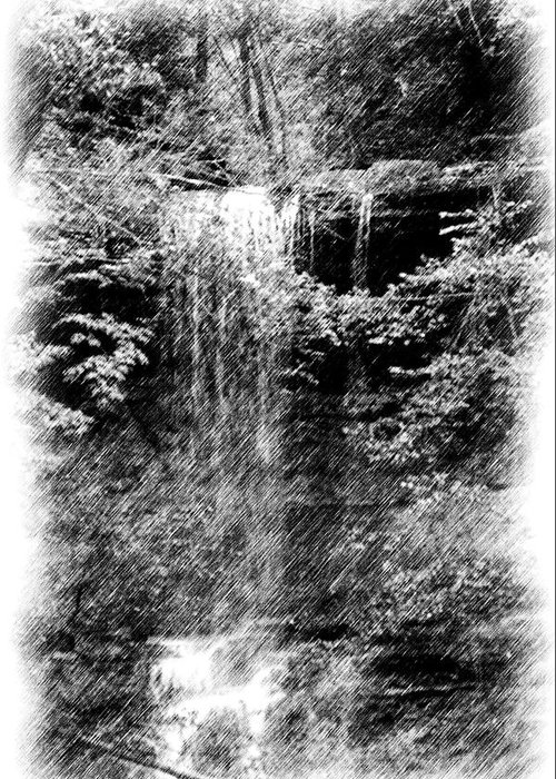 Digital Photograph Greeting Card featuring the photograph Simulated Pencil Drawing Tinker Falls. by David Lane