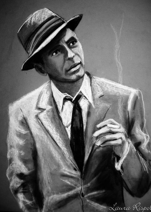 Frank Sinatra Greeting Card featuring the drawing Sinatra by Laura Rispoli